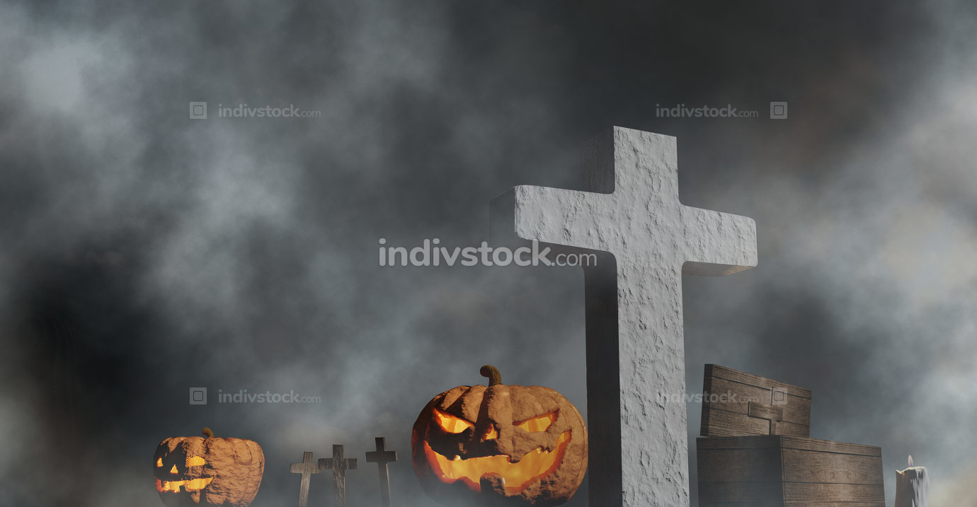 halloween graveyard coffin and pumpkins with fog 3d-illustration