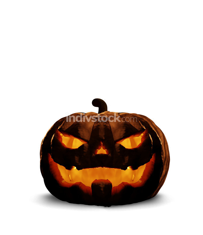 halloween horror evil pumpkin 3d rendering isolated