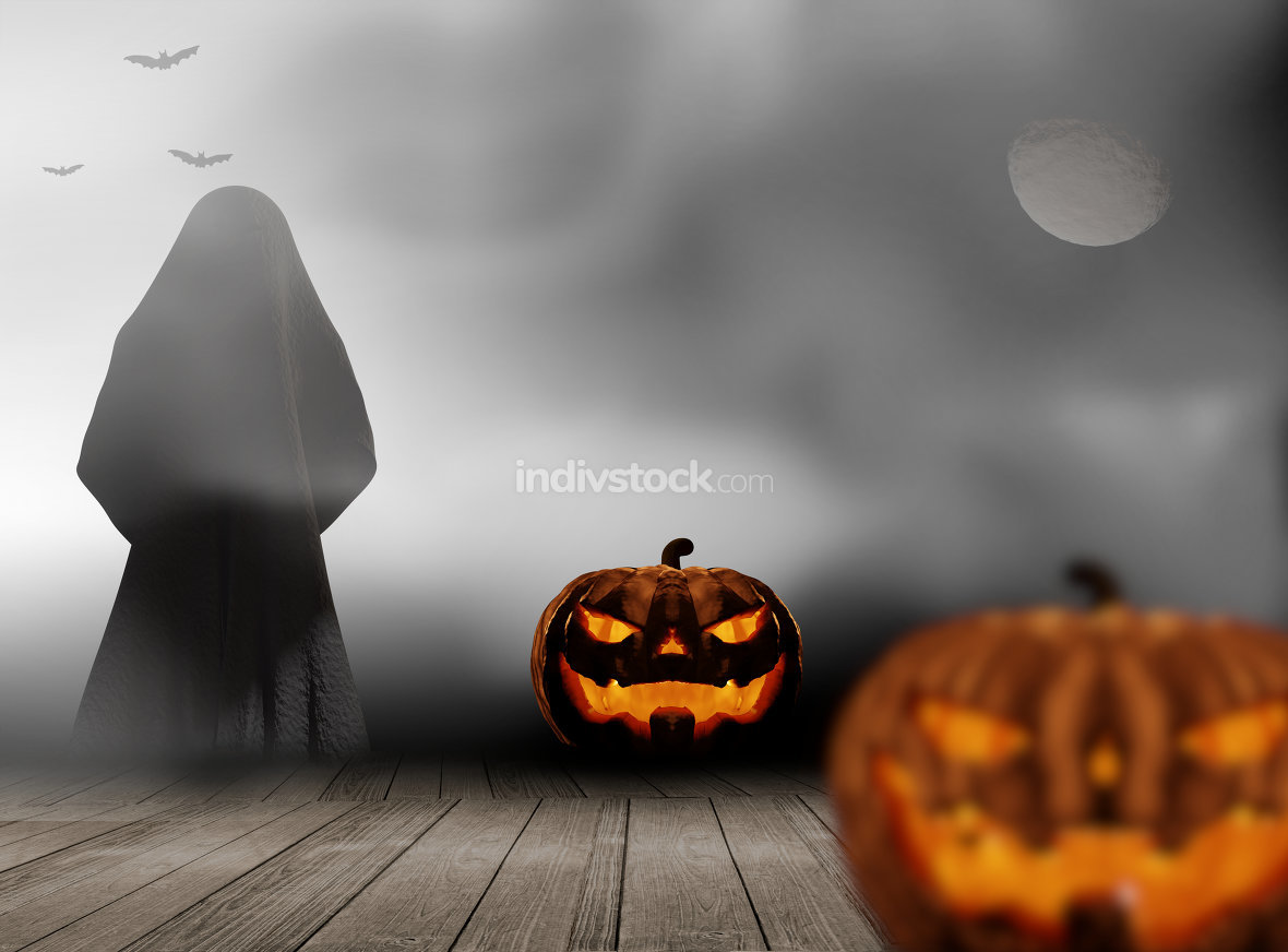 Halloween night with pumpkins and ghost demon under moon and fog