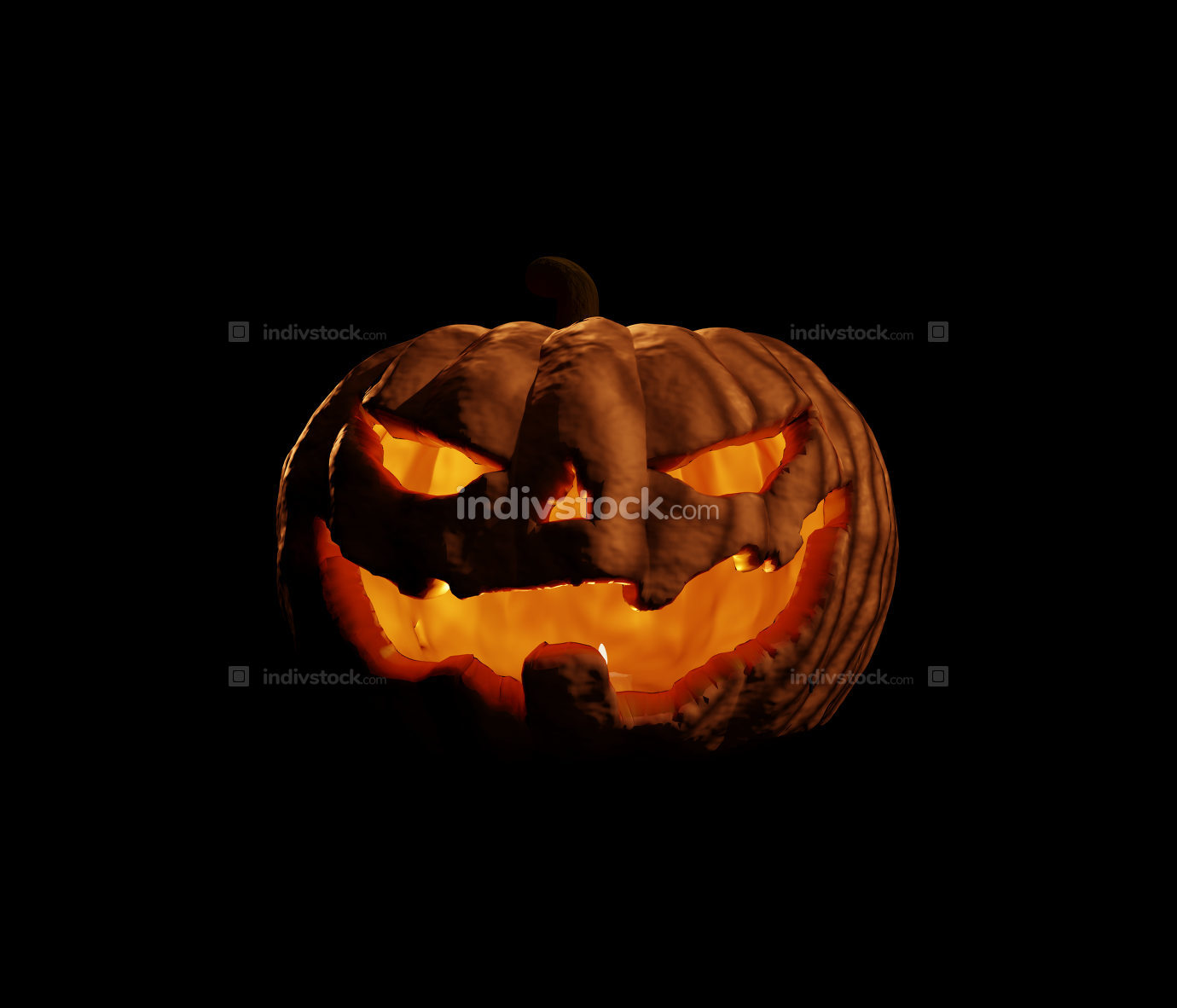 halloween pumpkin 3d rendering with candle light