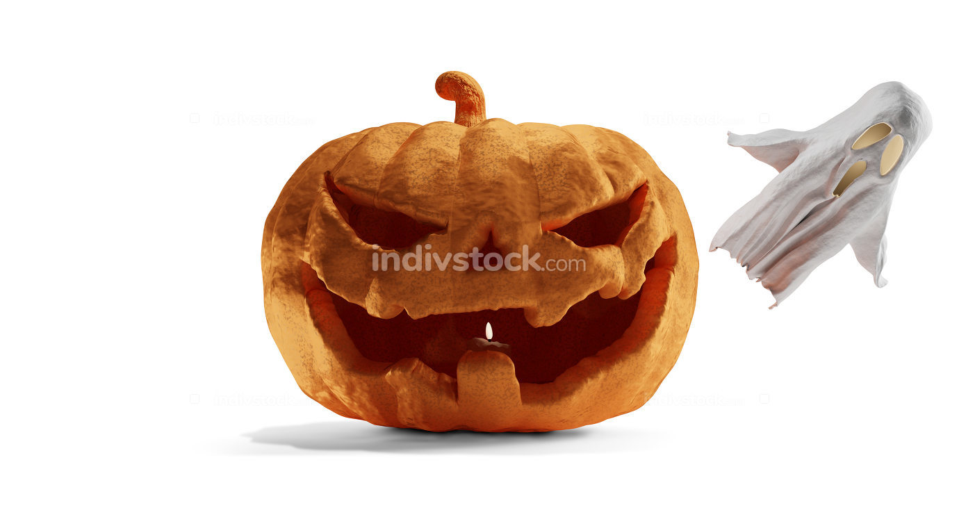Halloween pumpkin and ghost 3d-illustration