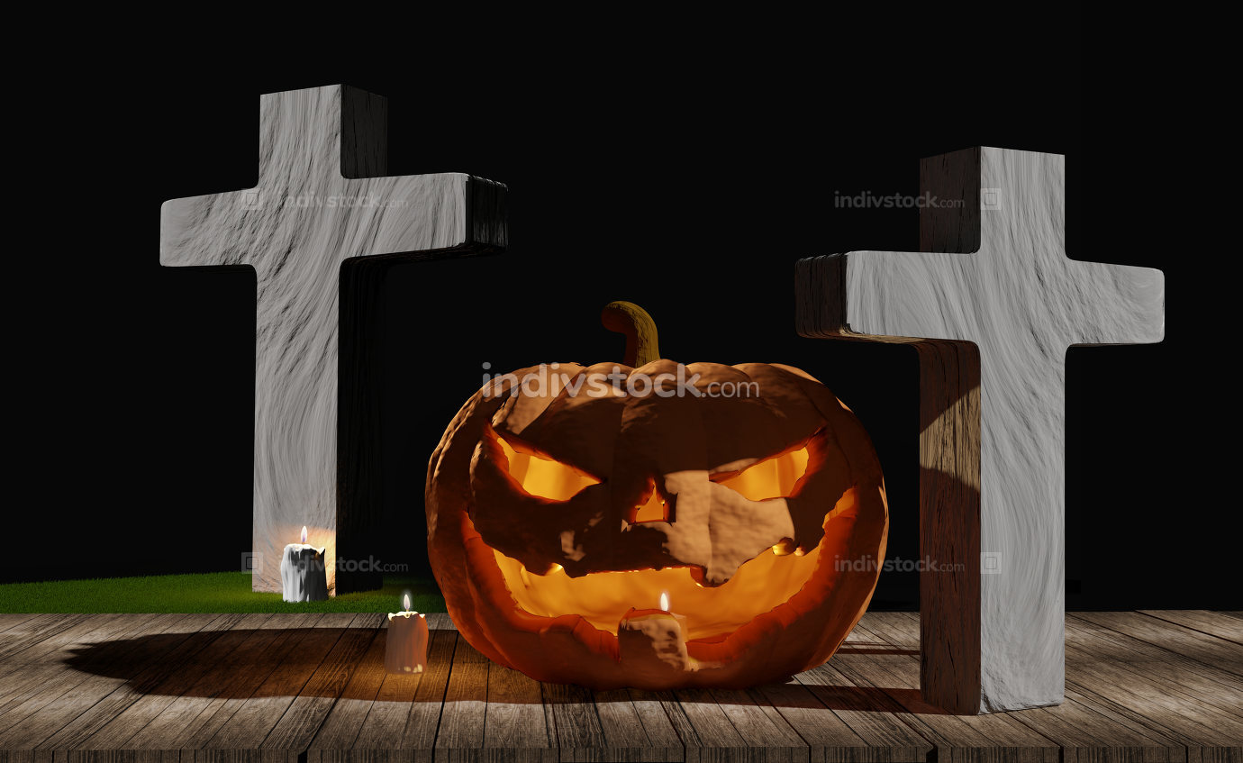 halloween pumpkin and grave on wood planks with halloween candle