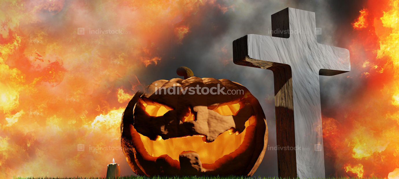 halloween pumpkin at graveyard with grave crosses 3d-illustratio