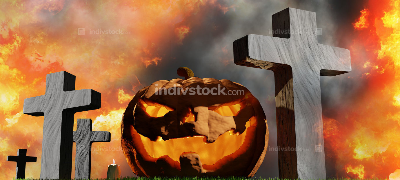 halloween pumpkin at graveyard with grave crosses and flames 3d-