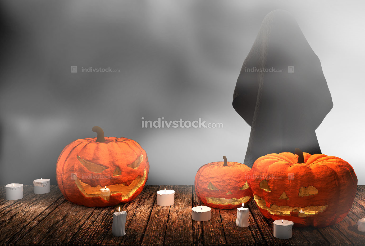 Halloween pumpkin candle lights at wooden planks with deep fog 3