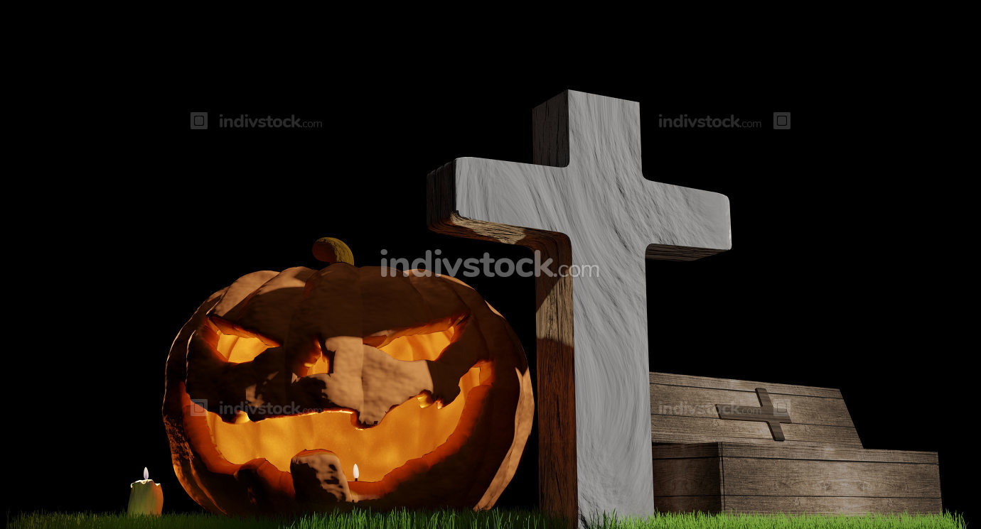 halloween pumpkin cross grave coffin 3d-illustration