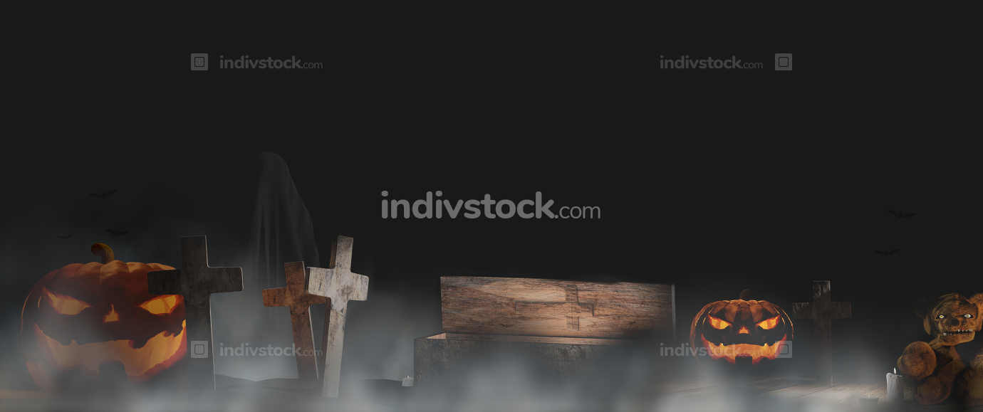 Halloween pumpkin fog and graveyard background 3d-illustration