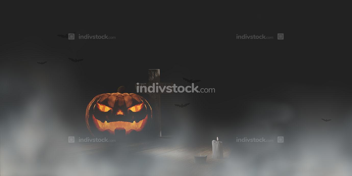 halloween pumpkin fog cross background 3d-illustration