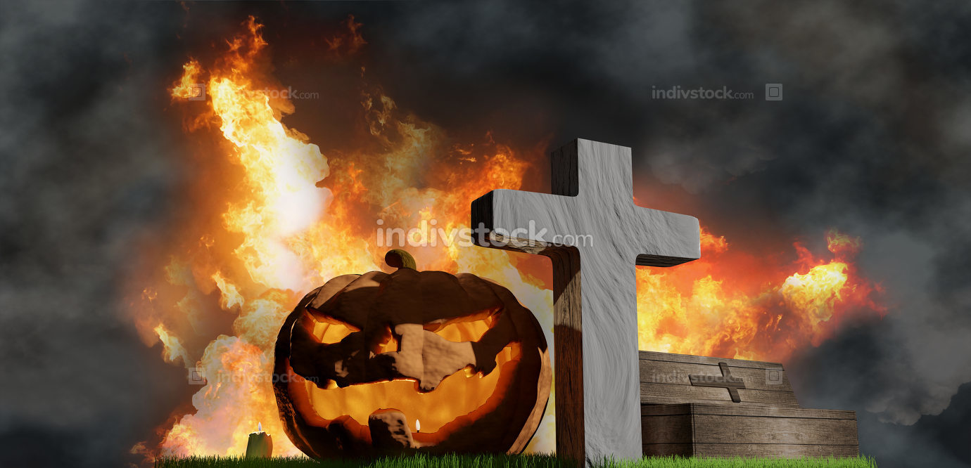 halloween pumpkin grave coffin and fire flames background 3d-ill
