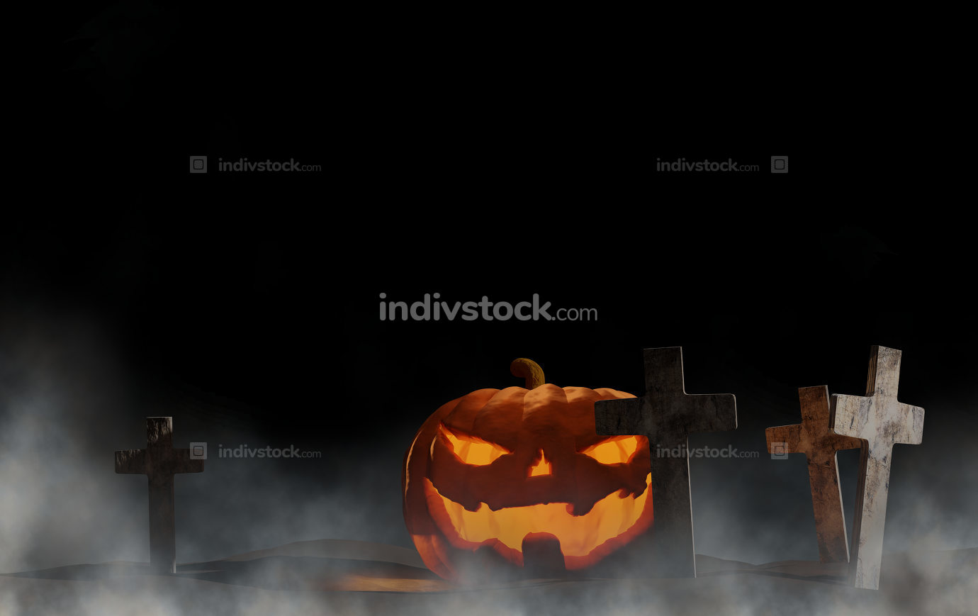Halloween pumpkin graveyard with fog dark background 3d-illustra