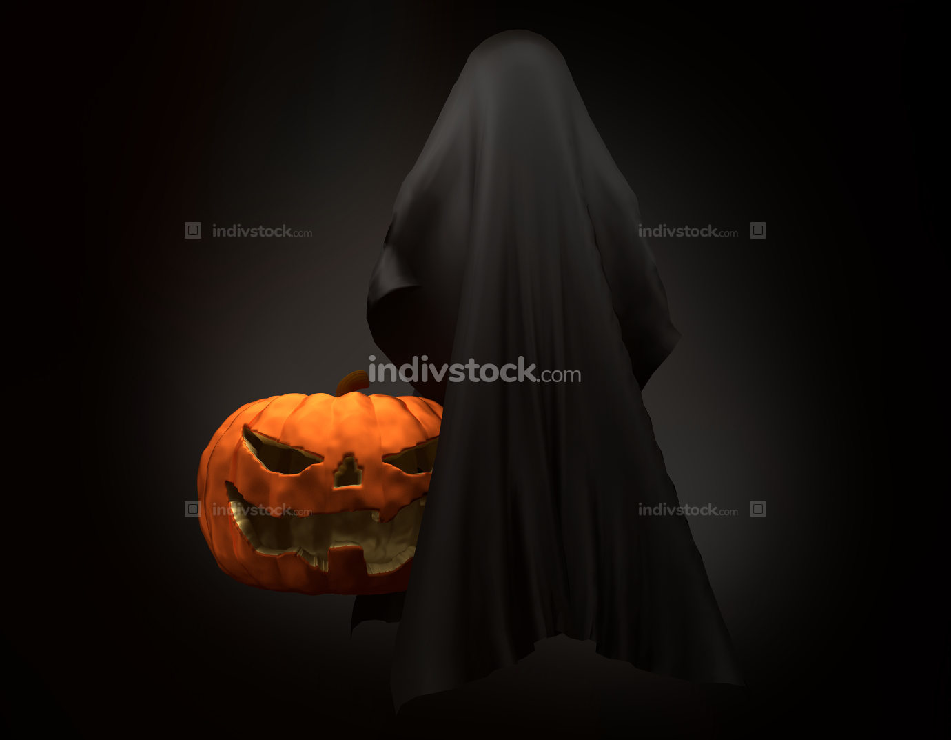 Halloween pumpkin with ghost creature horror halloween 3d illust