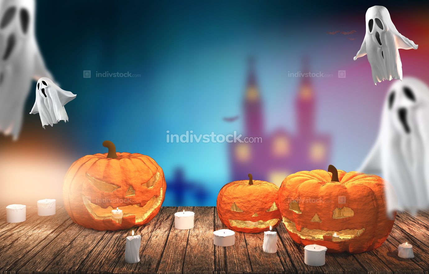 Halloween pumpkins 3D rendering