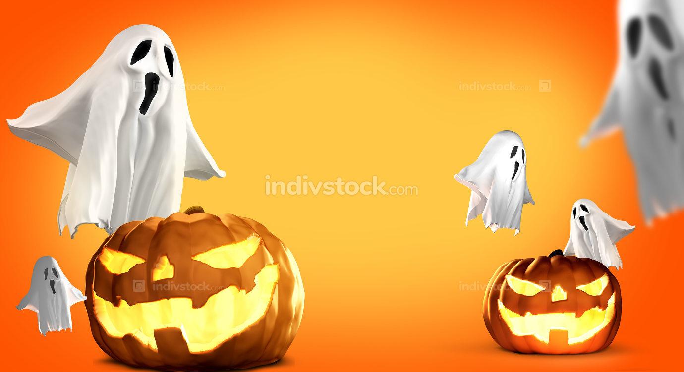 Halloween Pumpkins and ghosts 3d rendering