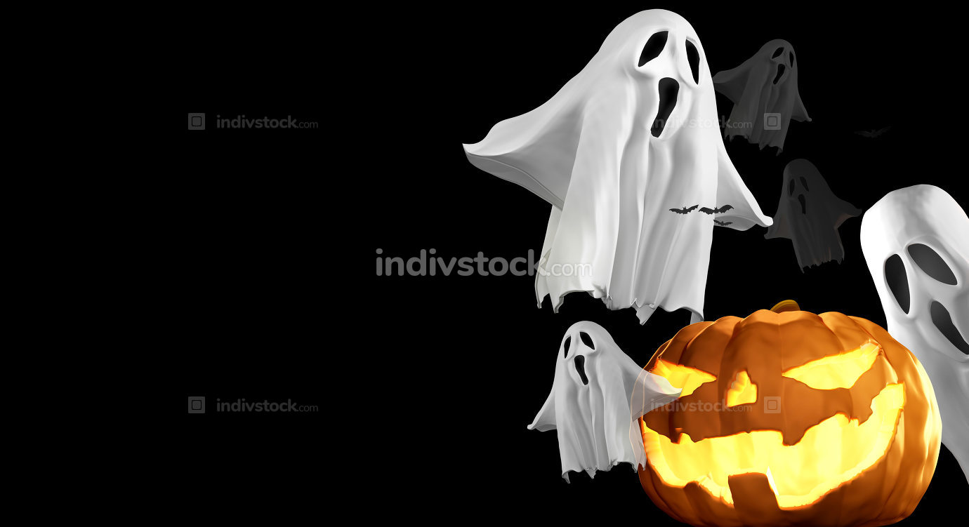 Halloween Pumpkins and ghosts and bats 3d rendering