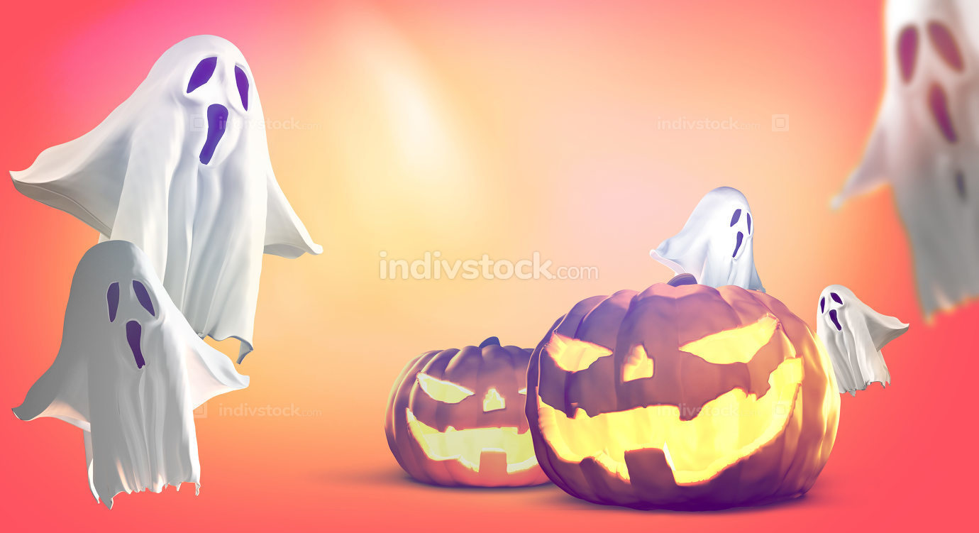 Halloween pumpkins ghosts 3d rendering