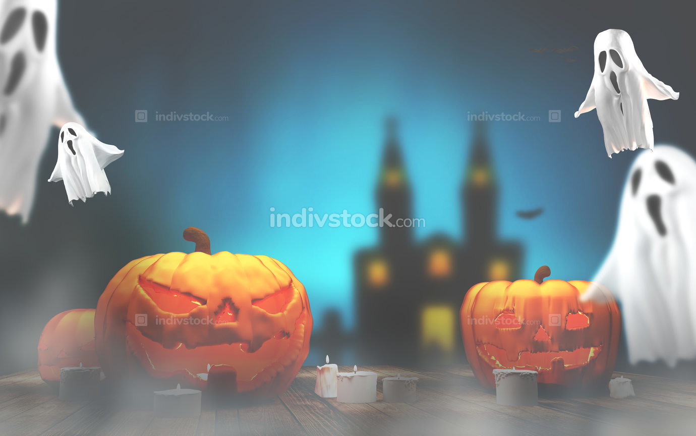 Halloween pumpkins ghosts and caslte in the fog background 3d-il