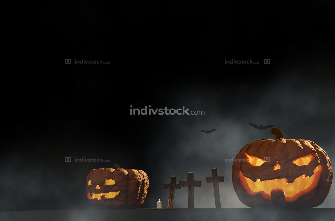 Halloween pumpkins graveyard with halloween grave cross with fog