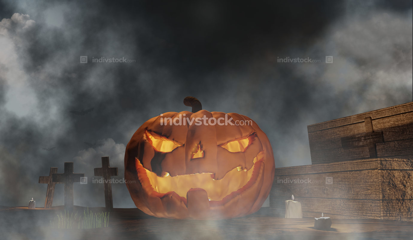 Halloween pumpkins with coffin graveyard with halloween grave cr
