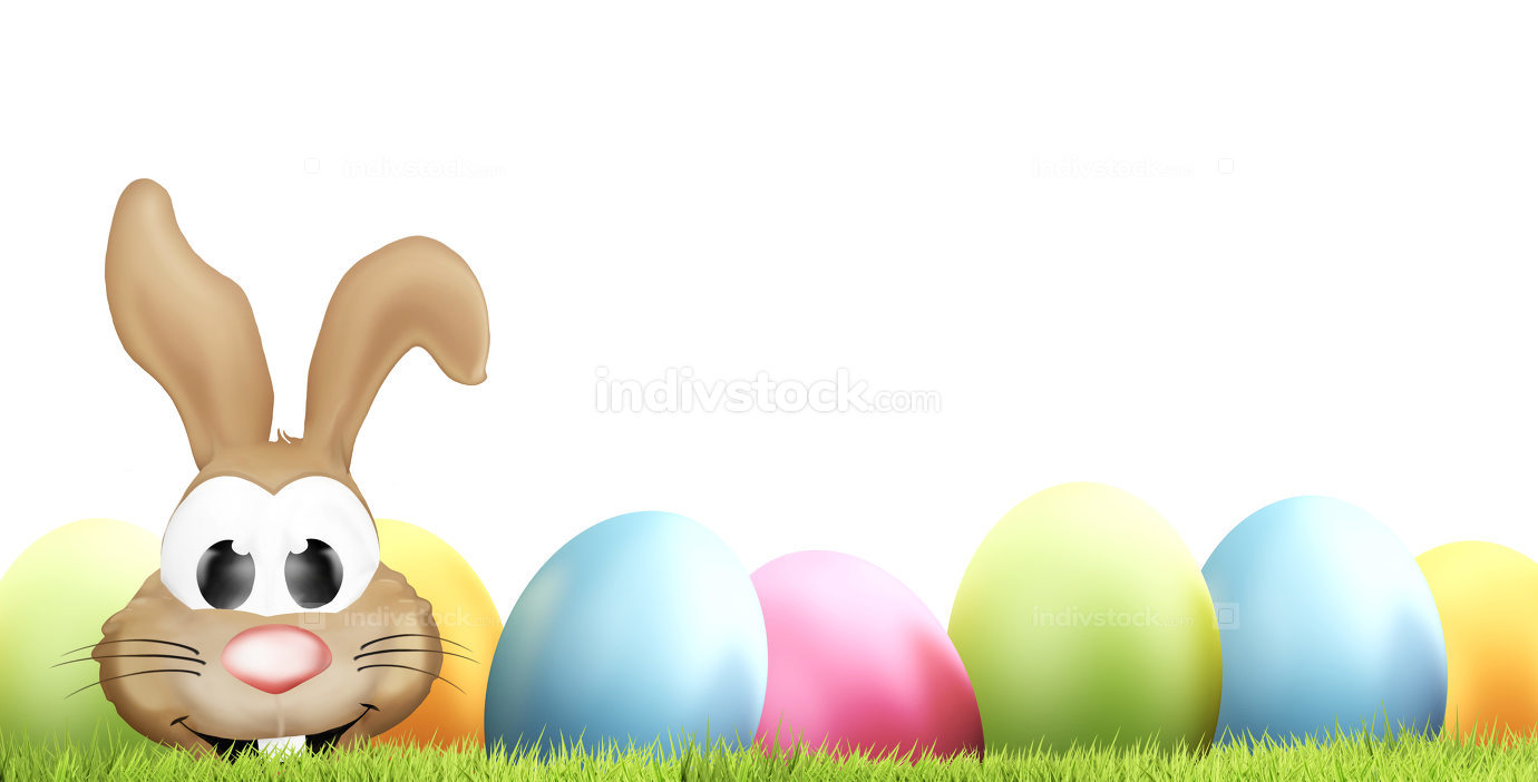 happy easter easter bunny easter eggs 3d rendering