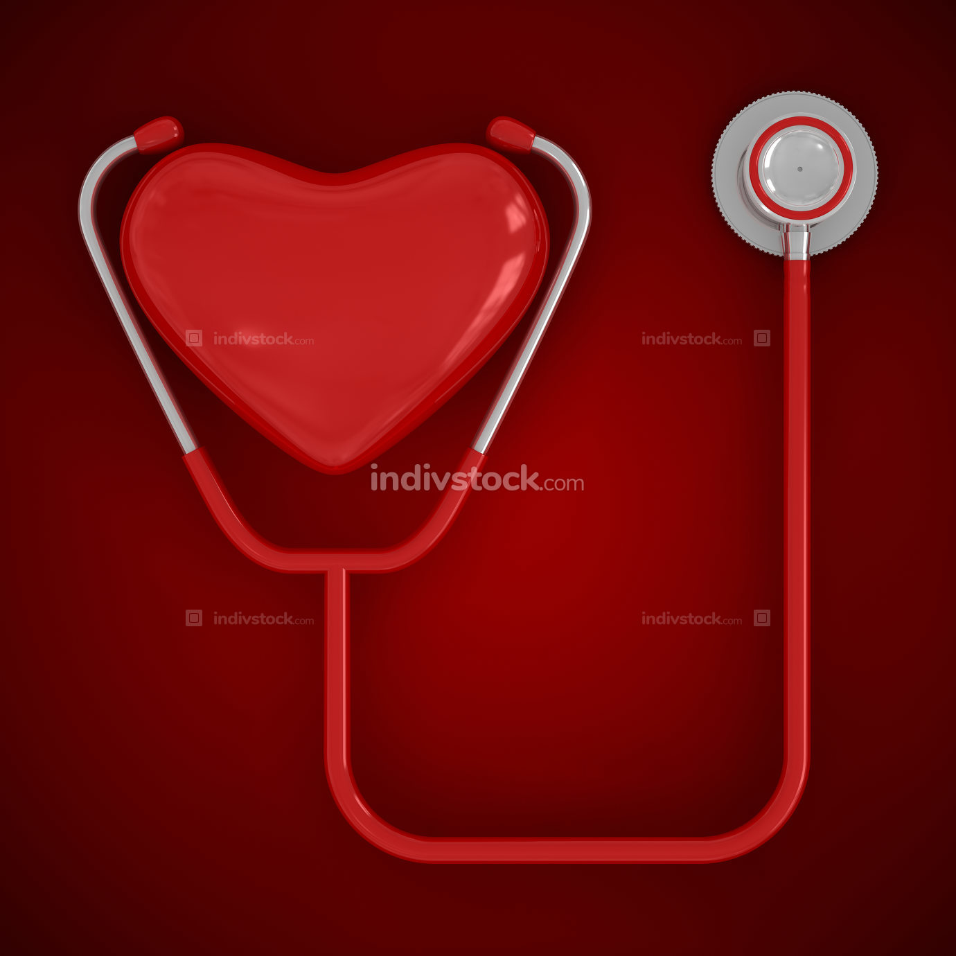 Heart and stethoscope 3d rendered image