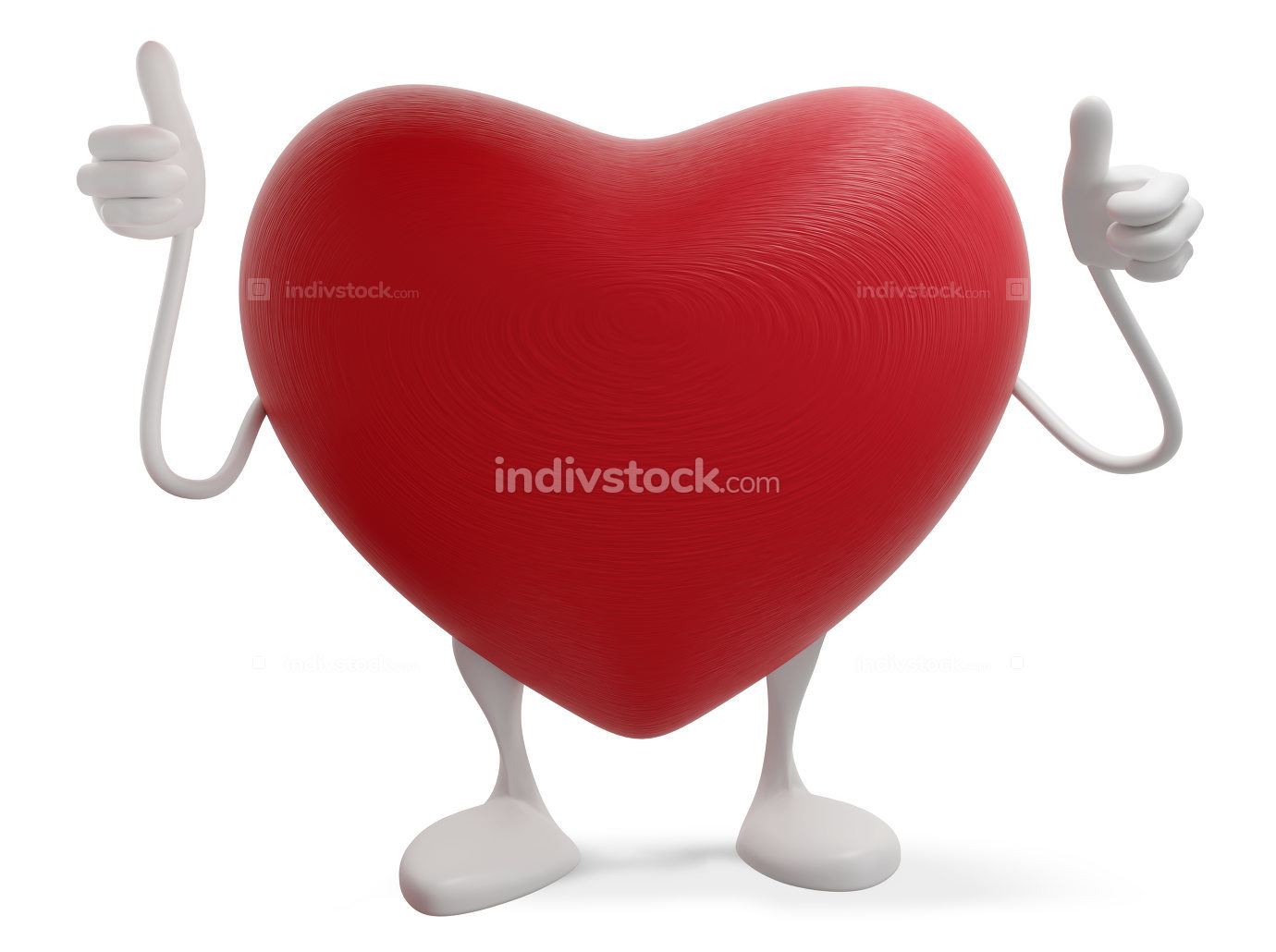 heart symbol thumbs up 3d-illustration