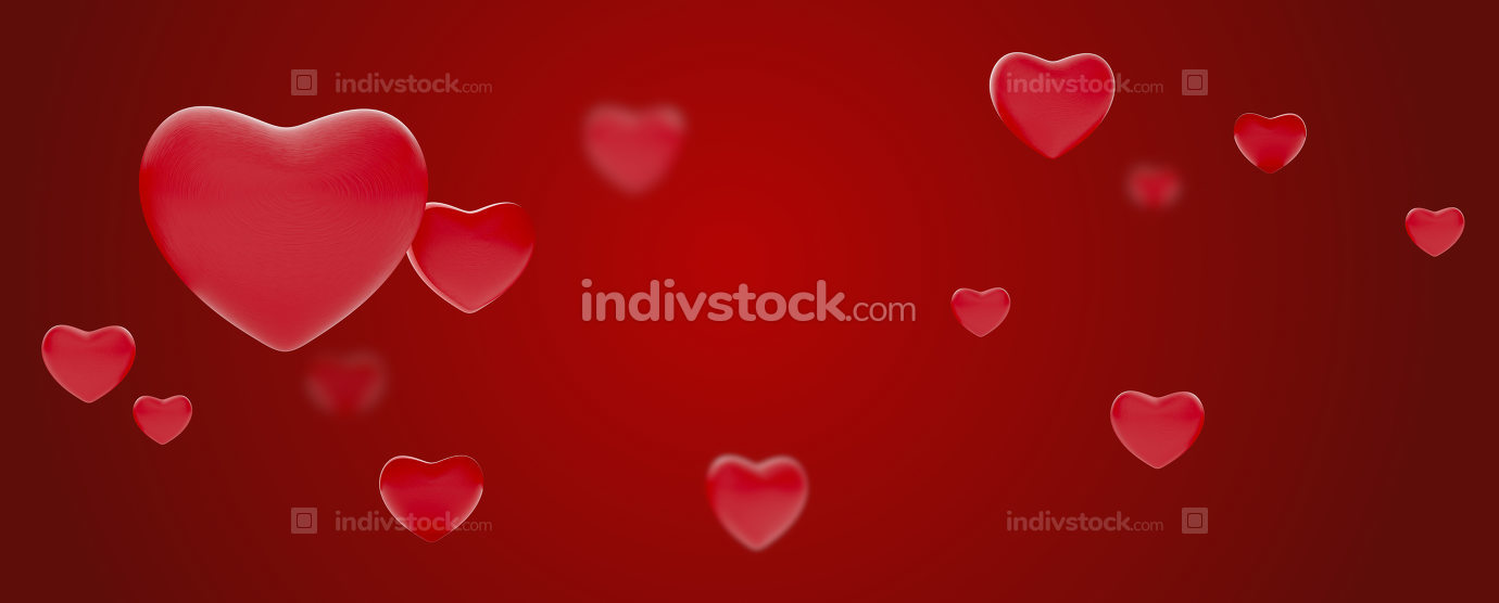 hearts background love design 3d-illustration