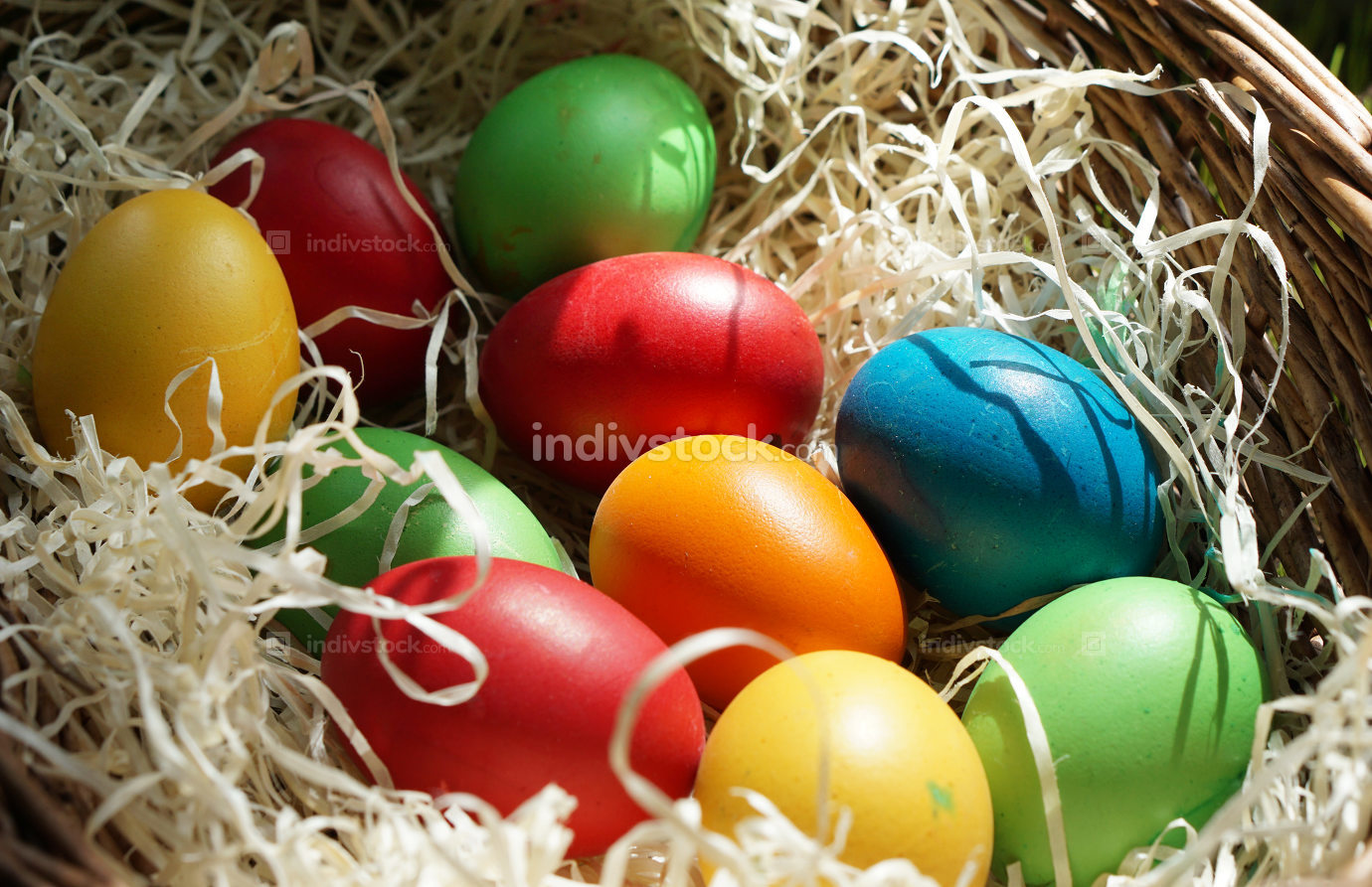 homemade colored easter eggs in easter basket outdoor at grass
