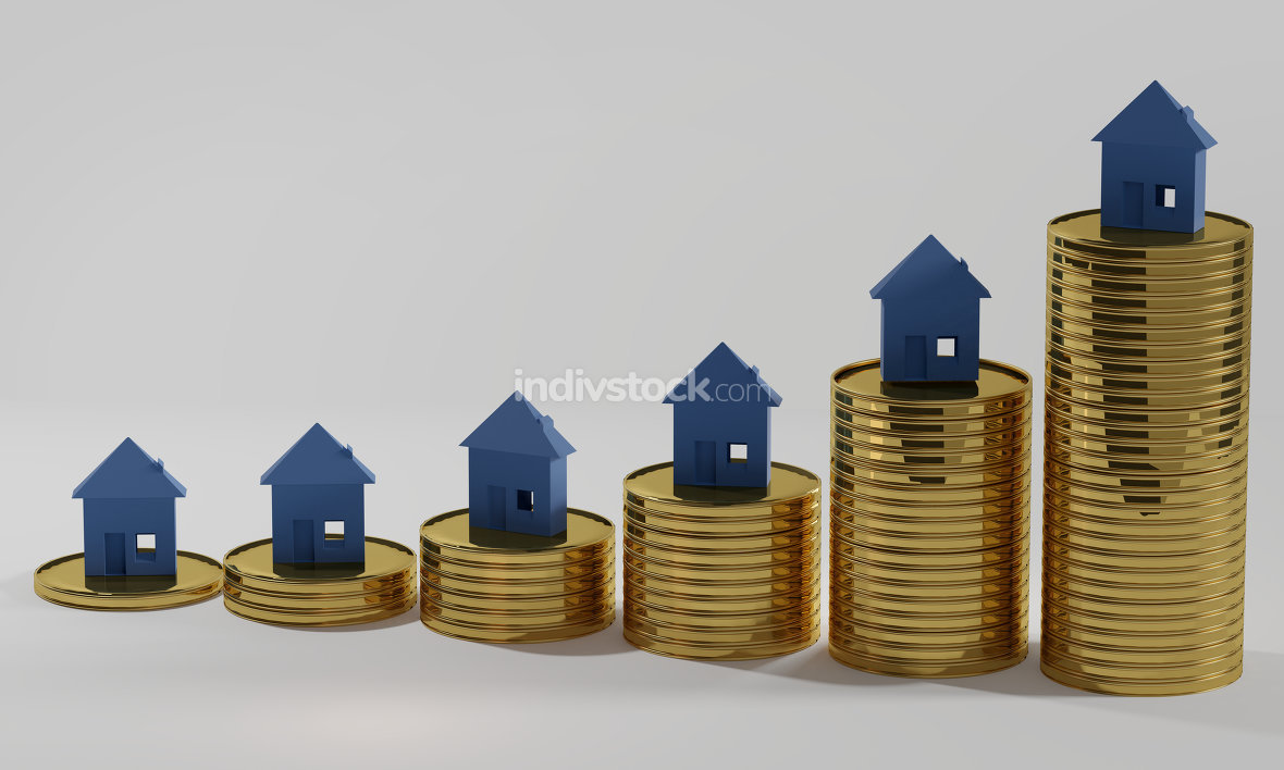 houses money cash coins 3d-illustration