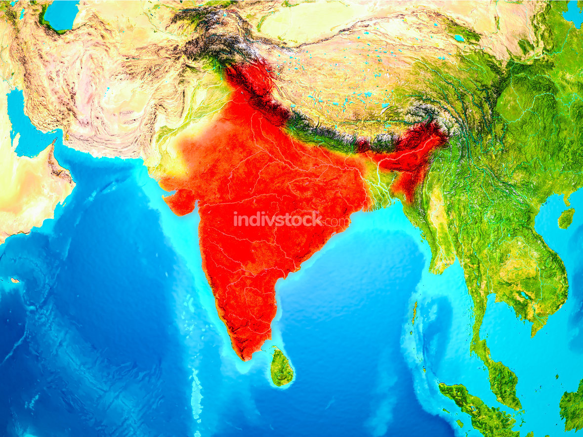 India in red on Earth