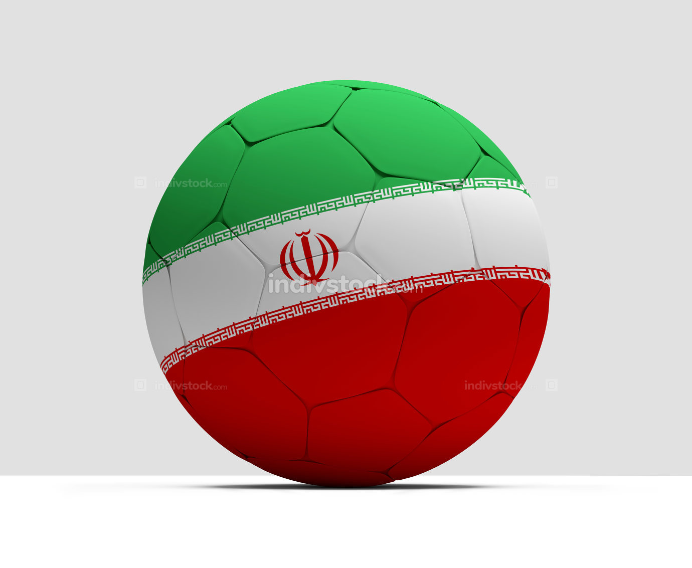 Iran Persian soccer football ball 3D Rendering