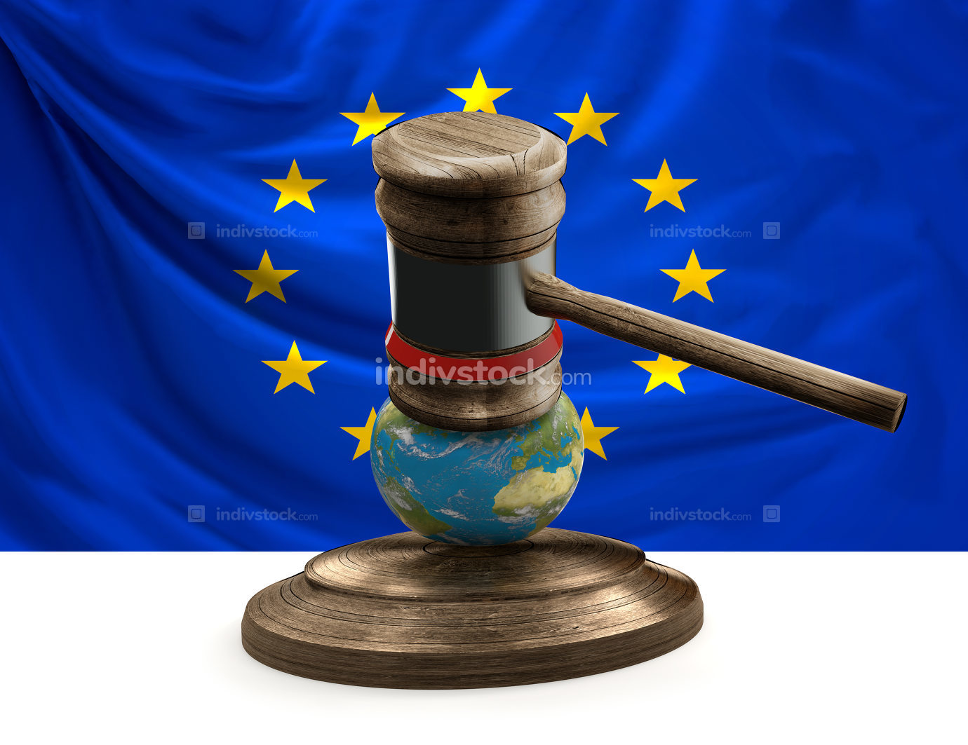 judge gavel flag of Europe world map globe 3D-illustration