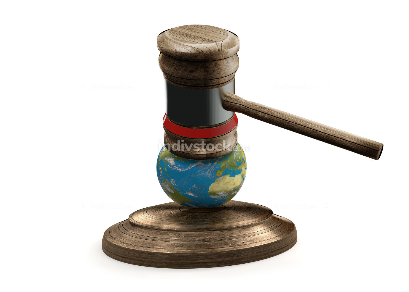judge gavel world map globe 3D-illustration