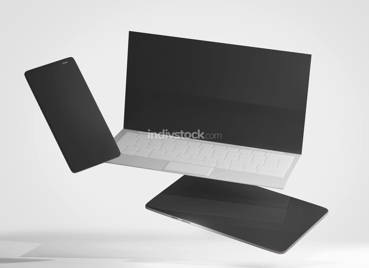laptop notebook mobile phone and tablet computer 3d-illustration