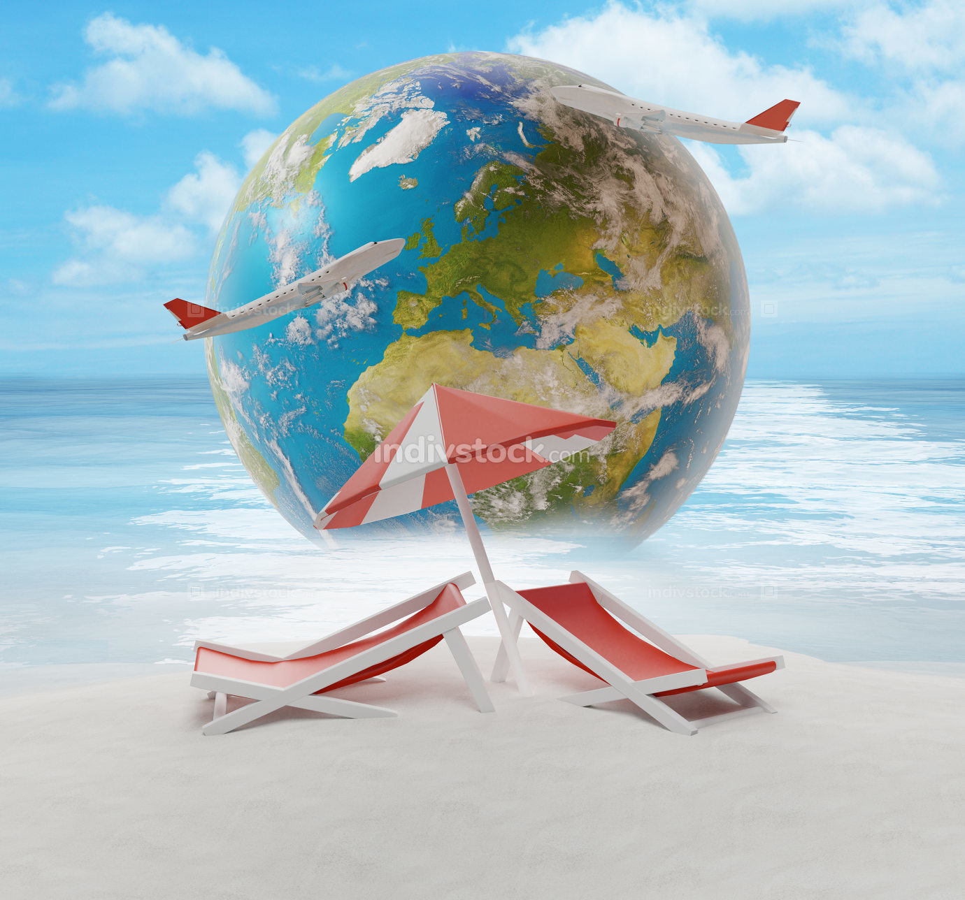 lounge and umbrella on sand beach island with world globe 3d-ill
