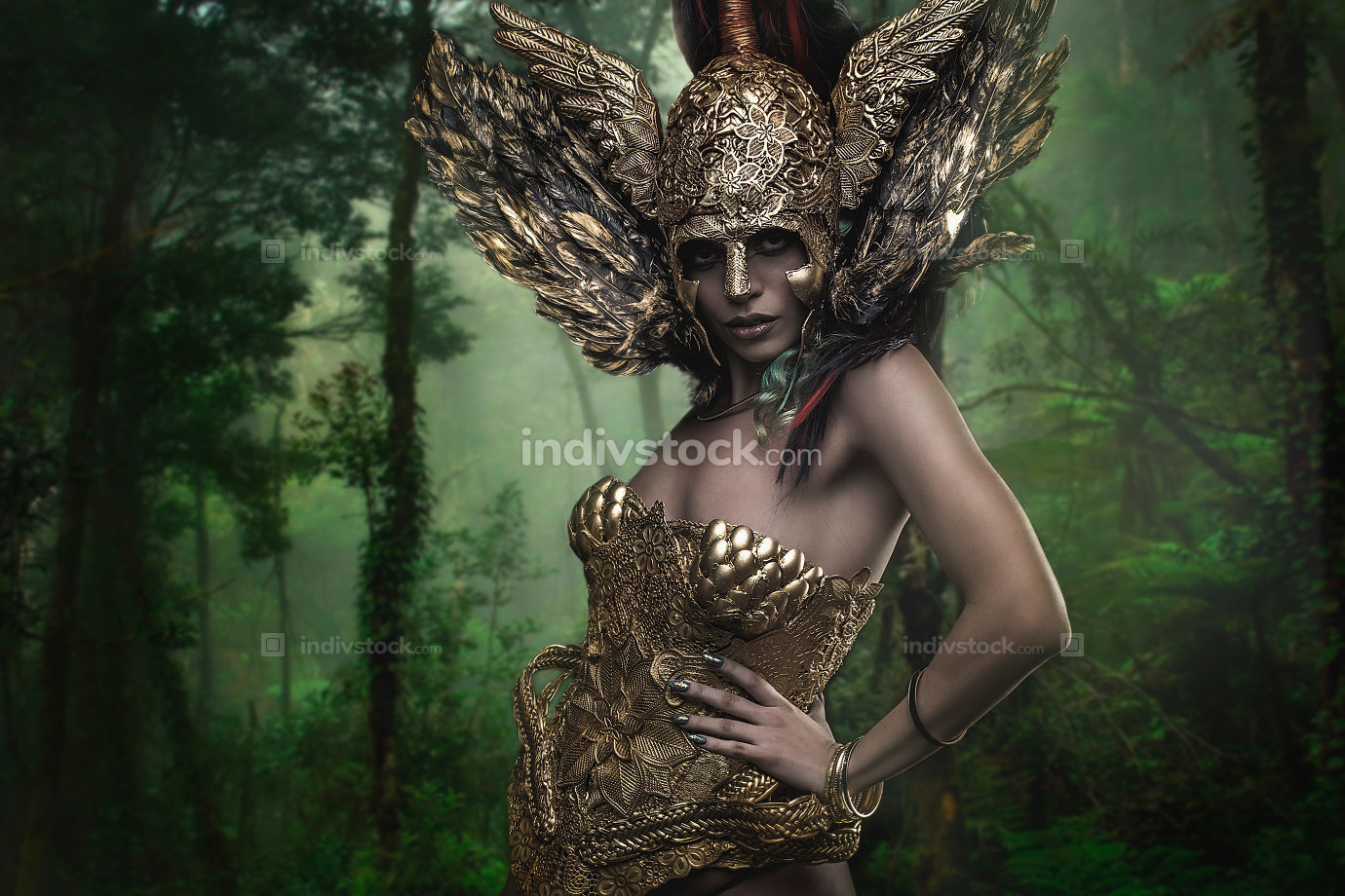 Magical, Deity, beautiful woman with green hair in golden goddes
