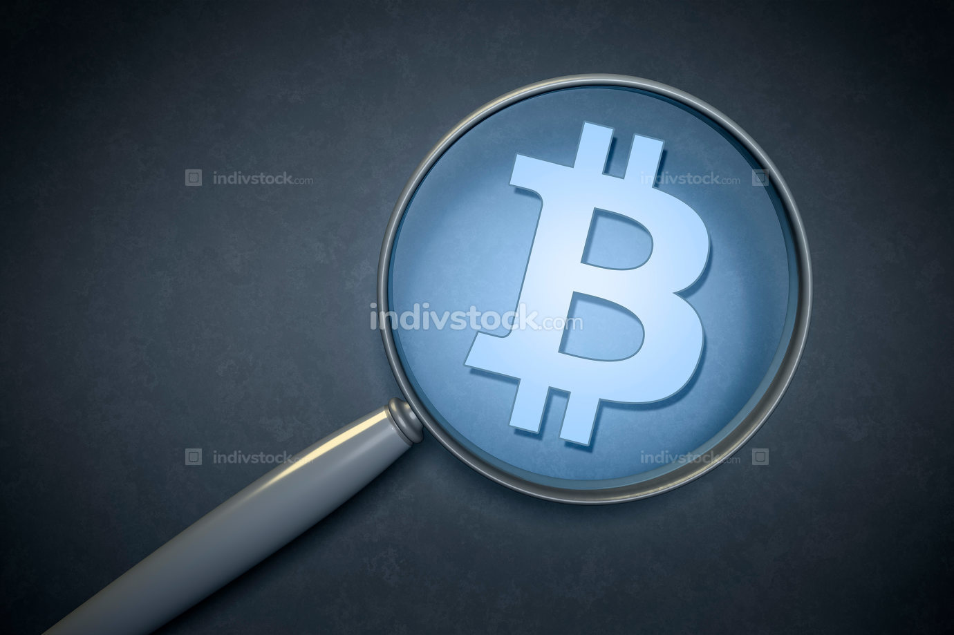 magnifying glass with a bitcoin sign