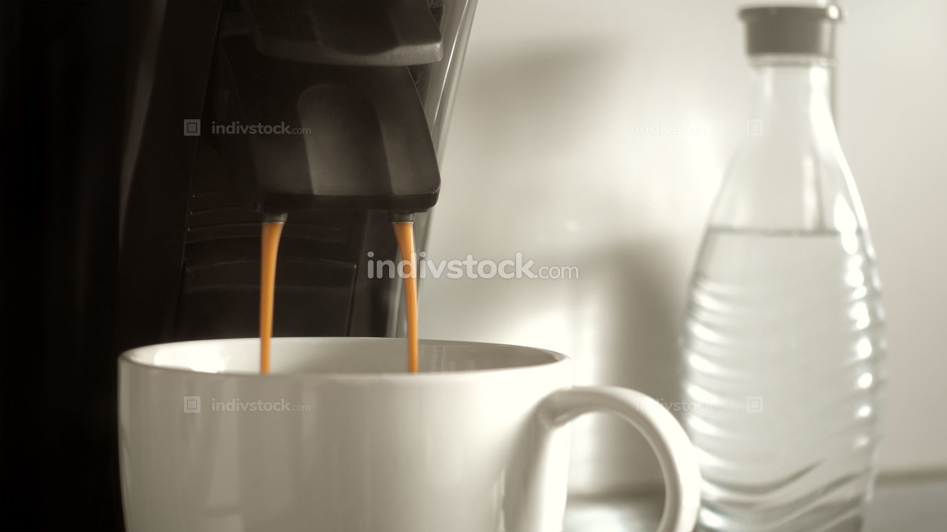 making a cup of coffee