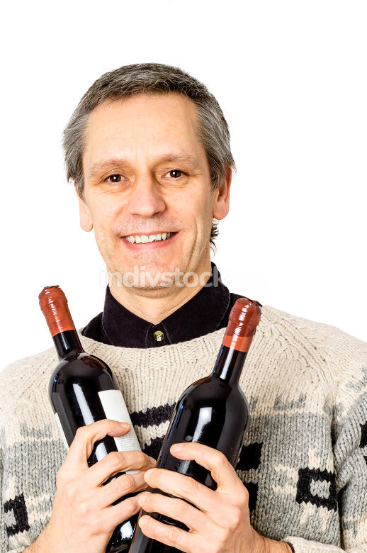 Man with bottles of wine