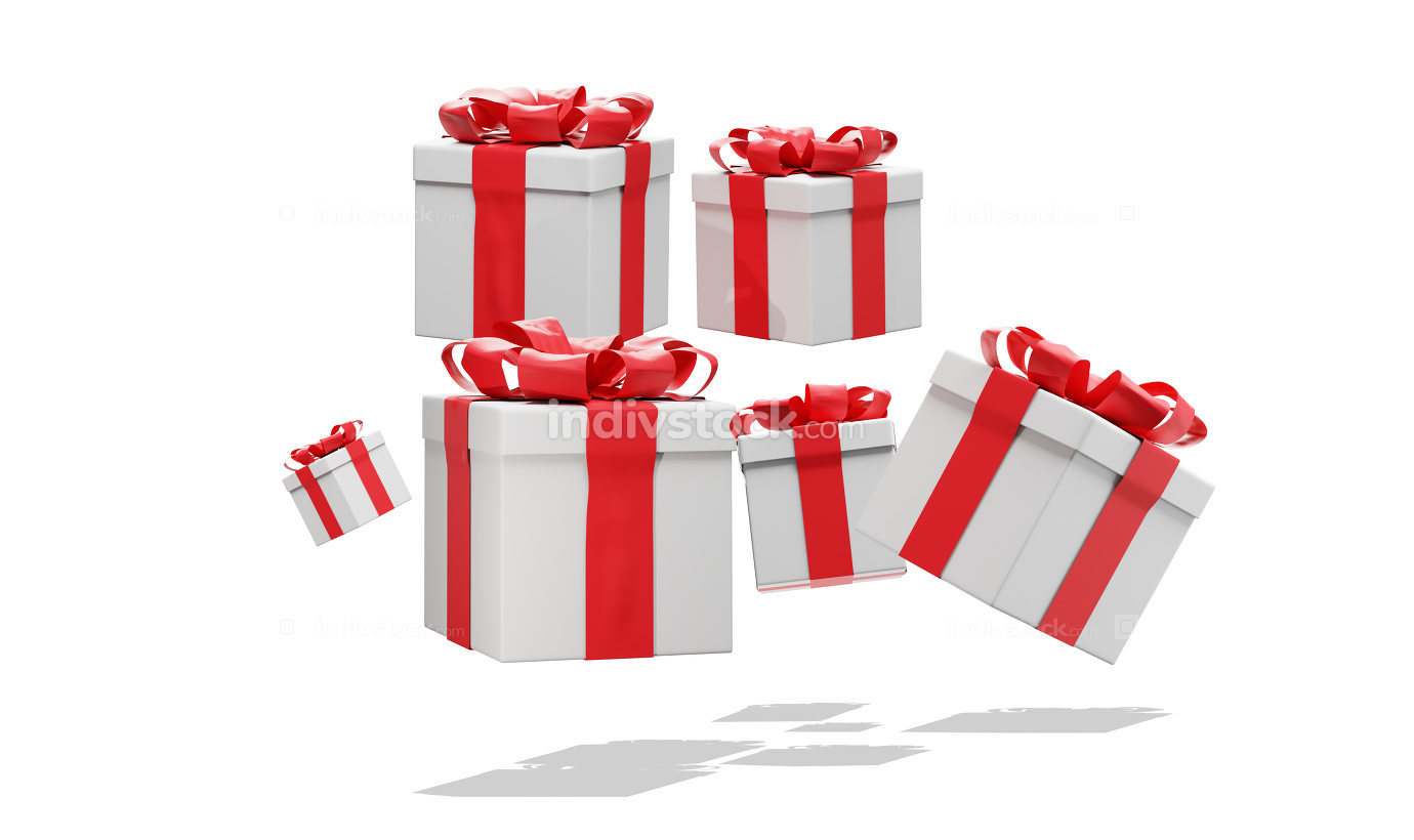 Many presents with ribbon 3d-illustration
