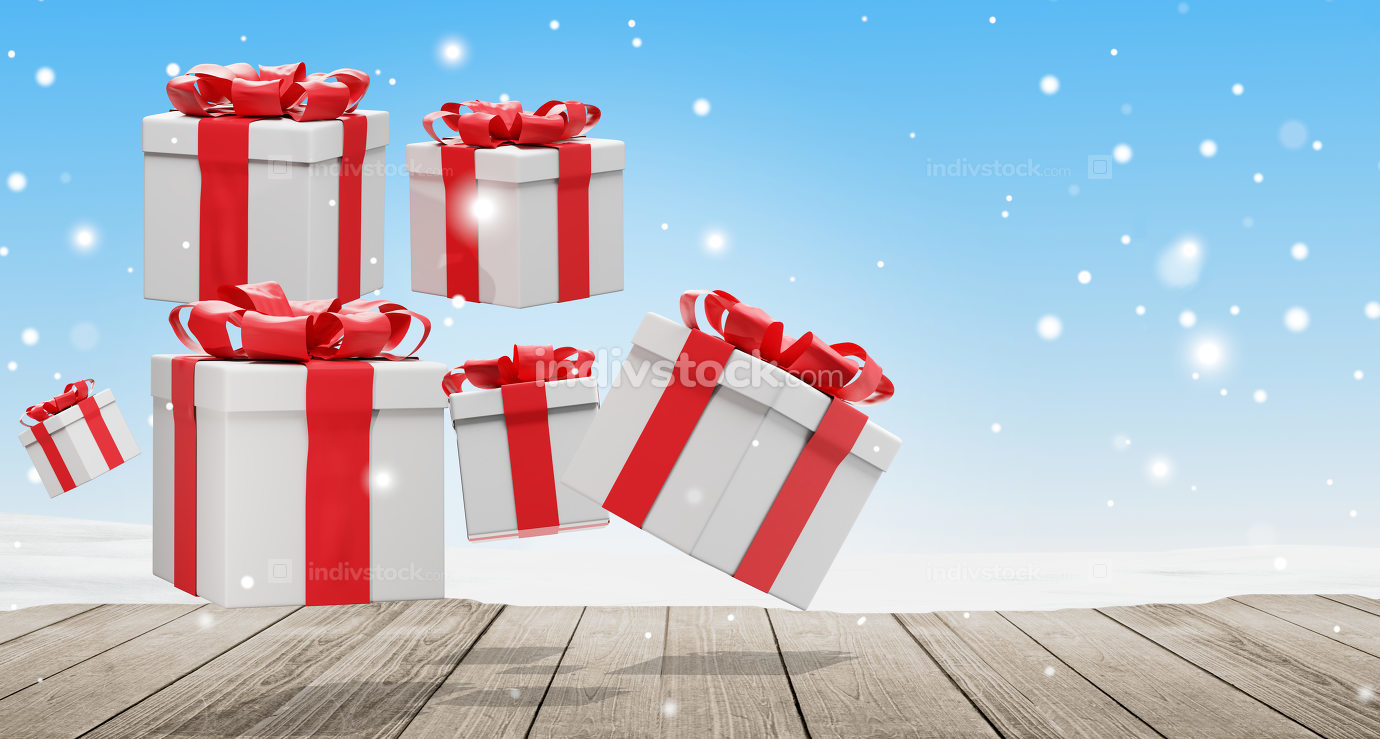 Many presents with ribbon at Christmas 3d-illustration