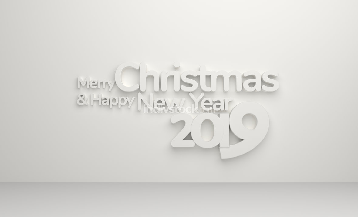 merry christmas and happy new year 2019 3d rendering