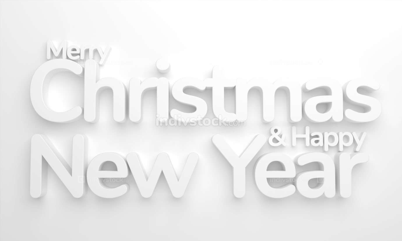 merry christmas and happy new year 3d rendering background