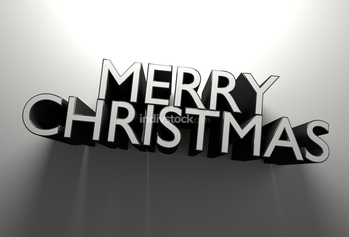 Merry Christmas bold letters 3d illustration