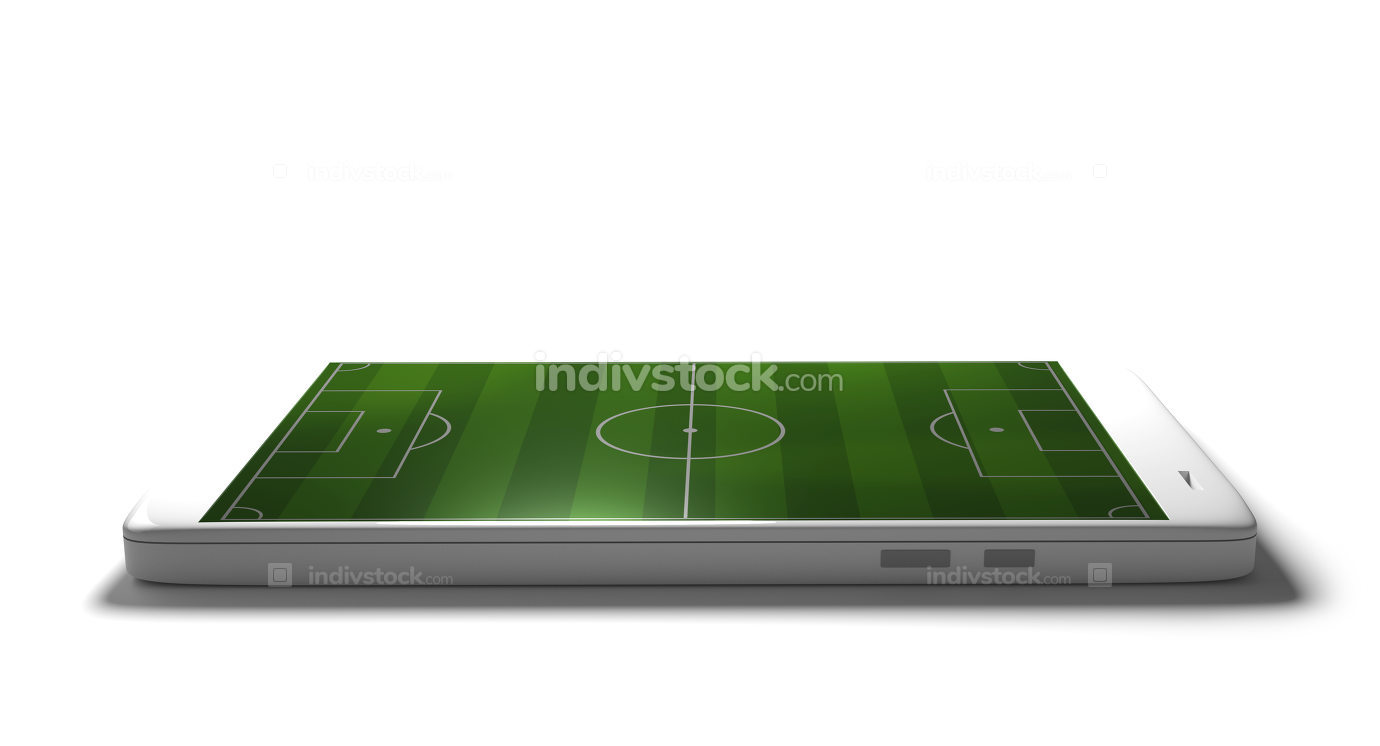 mobile phone isolated with soccer field display 3d rendering