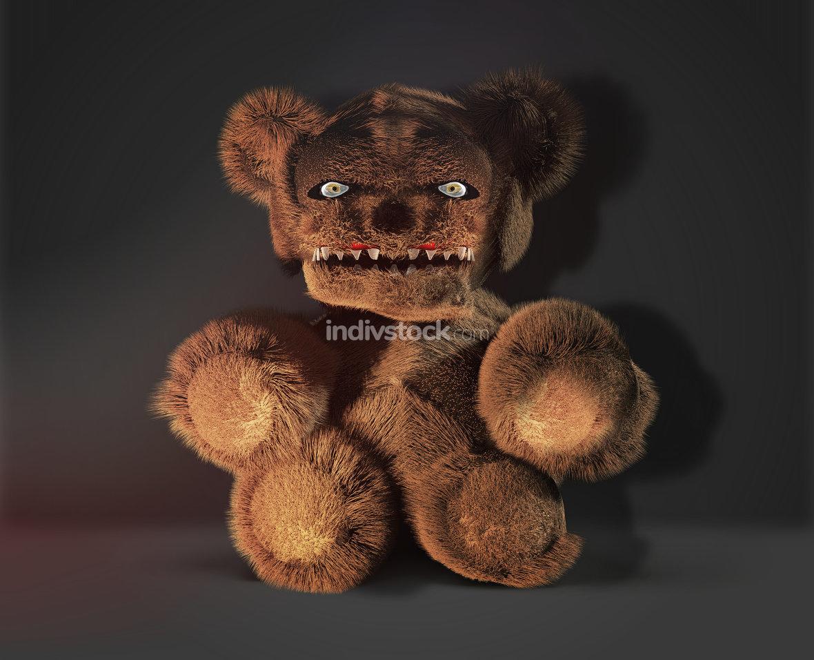 monster demon horror evil teddy bear 3d rendering