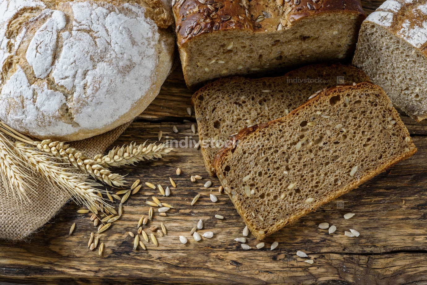 Natural bread in a rustic style