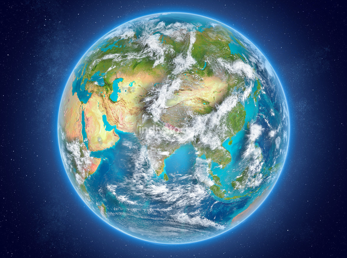 Nepal on planet Earth in space