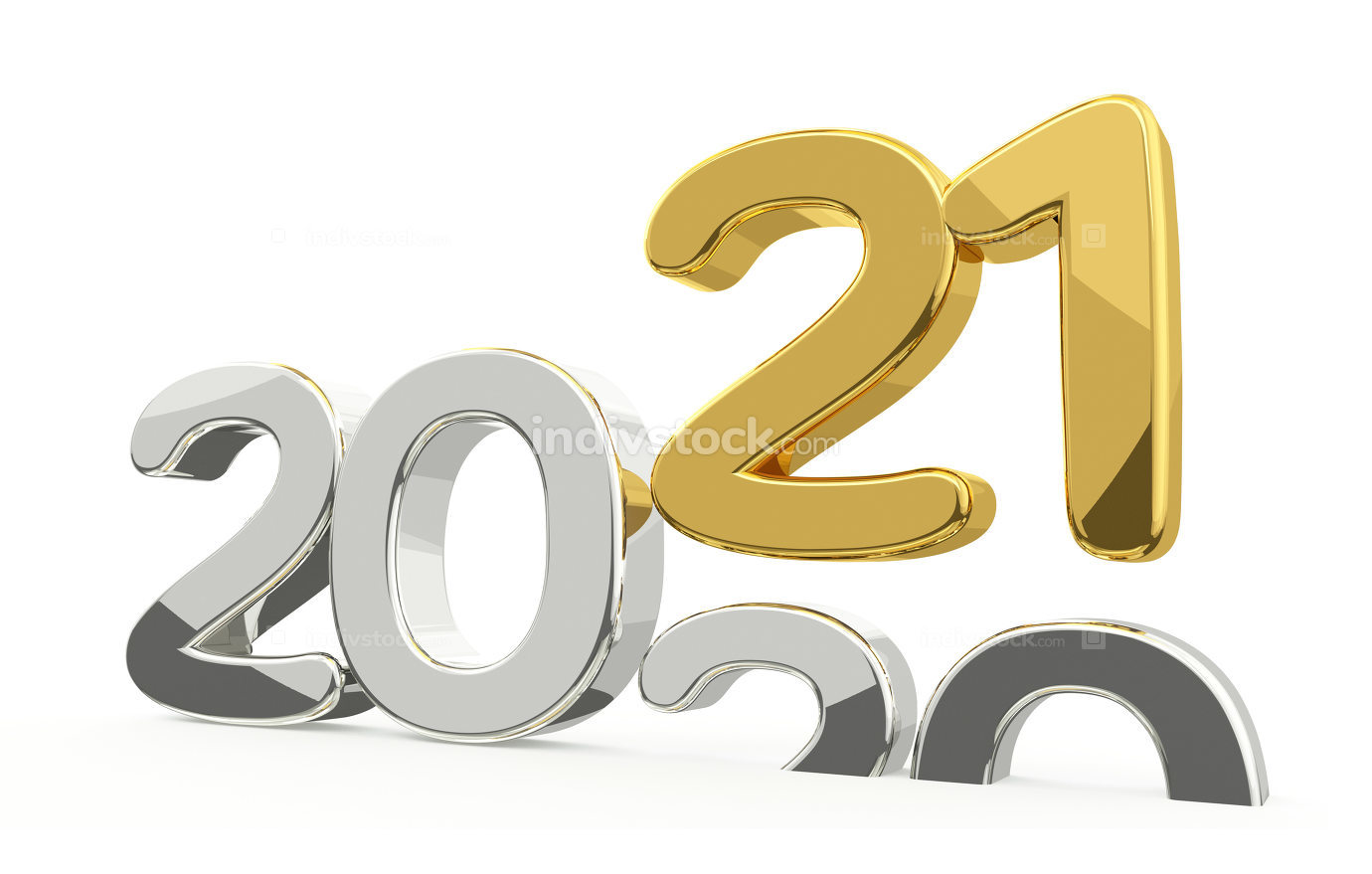 new year 2021 and 2020 golden 3d render