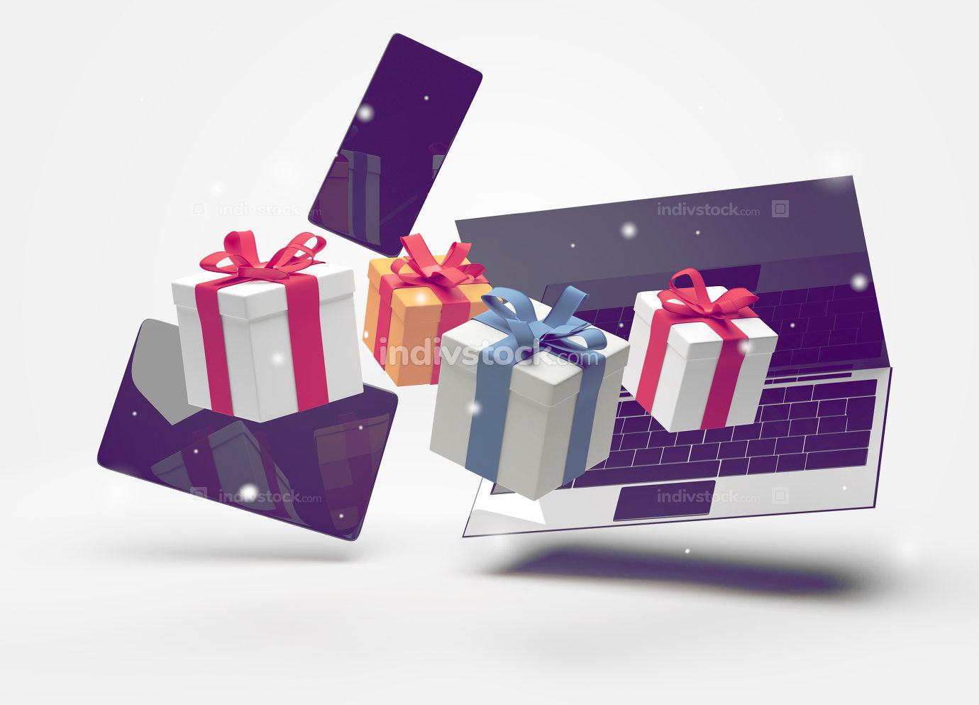 notebook desktop with smartphone with tablet computer and gifts