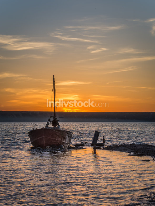 Old Abandoned Boat at Sunset